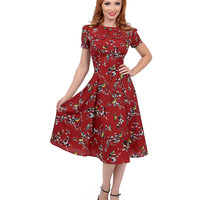 1950s Style Carmine Red Birdy Swing Dress