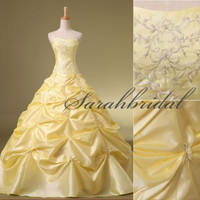 Yellow/Red Prom Quinceanera Dress Formal Evening Military Ball Gown Embroidery Beads