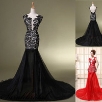 Lace Red / Black Sexy Party Prom Club Dress Women Cocktail Military Ball Gown