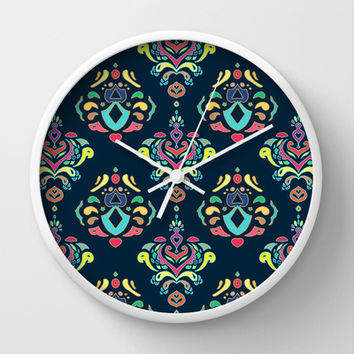 Doodle Damask Wall Clock by micklyn