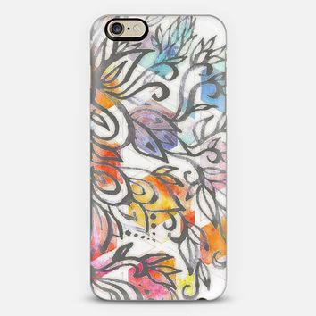 Tangerine, Aqua & Grey Soft Bright Watercolor Pattern iPhone 6 case by Micklyn Le Feuvre | Casetify