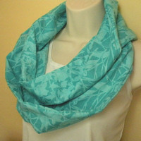 Teal and Turquoise Cowl Infinity Circle Scarf