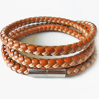 Bangle leather bracelet buckle bracelet men bracelet women bracelet made of brown leather woven Metal buttons bracelet cuff  SH-1936