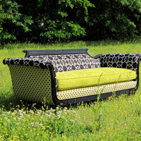 1930&#x27;s Remastered Parlor Sofa in Chartreuse/Black/Cream, &quot;Cherice&quot;