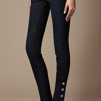 PRESS STUD INDIGO WASH JEANS