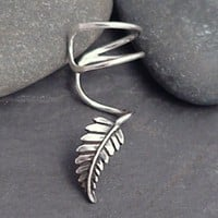 EAR CUFF - New Leaf Swirly Sterling Ear Cuff