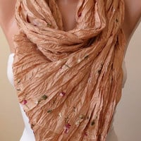 Honey and Silky Satin Scarf - Embroidered Fabric