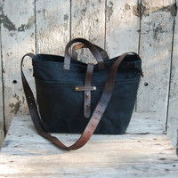 Waxed Canvas Tote: Coal, antique military leather, antique fabric.