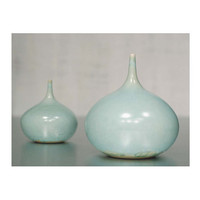 One Large Blue-Green Stoneware Rotund Vase by Sara Paloma