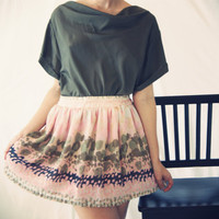 A Line Silk Chiffon Paint Print Mini Skirt