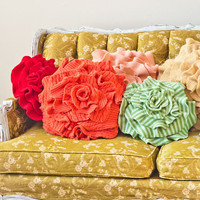 Small Ruffle Rose Pillow in true Red. Eco friendly recycled materials.