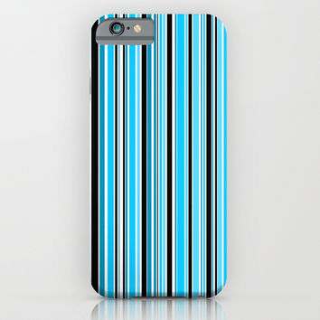 Candy Stripe Blue iPhone & iPod Case by Alice Gosling