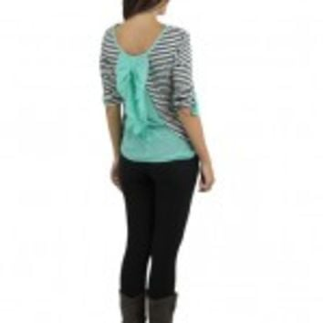 Mint And Navy Striped Top With Back Bow