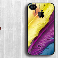 iphone 4 case iphone 4s case iphone 4 cover colorized feather  Iphone Logo design printing ($13.99)