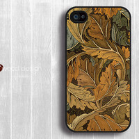 Case for black iphone 4 case iphone 4s case iphone 4 cover classic  leaf graphic design printing ($13.99)