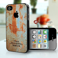 iphone 4 case iphone 4s case black  iphone 4 cover ragged rust metal texture image design printing ($16.99)