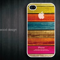 unique iphone case iphone 4s case iphone 4 cover white iphone case colorized wood texture Iphone Logo design printing ($13.99)