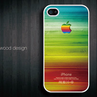 iphone hard case iphone 4s case iphone 4 cover white iphone case bright style colorized wood texture Iphone Logo design printing ($13.99)