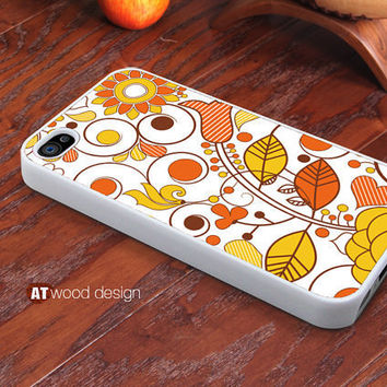 Custom iphone 4 case iphone 4s case iphone 4 cover yellow style abstract sun leaf classical  illustrator flower graphic design printing ($13.99)
