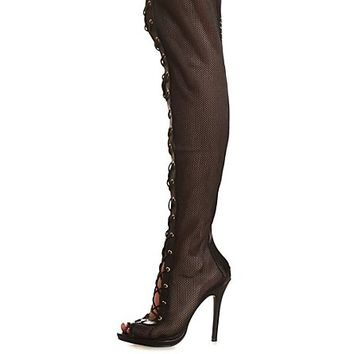 Mesh Lace-Up High Heel Over-the Knee Boots by Charlotte Russe - Black