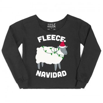 Fleece Navidad (White Ink)-Unisex Black T-Shirt