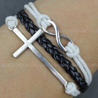 Kama - leather bracelet, white leather rope bracelet, silver cross bracelet, infinite hope bracelet