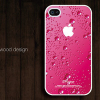 pink water-drop iphone case design iphone 4 case iphone 4s case iphone 4 cover unique case ($13.99)