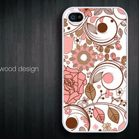 iphone 4 case iphone 4s case iphone 4 cover red white  illustrator  flower graphic design printing ($13.99)