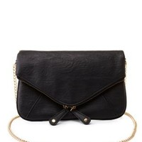 Double Zipper Cross-Body Envelope Purse by Charlotte Russe - Black