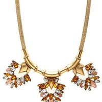 Mesh Chain Faceted Stone Bib Necklace by Charlotte Russe - Gold