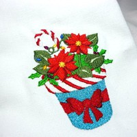 4 Cloth Napkins Christmas Poinsettia Blooms Linen 20 X 20 Embroidered