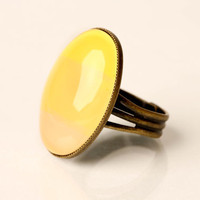 Yellow Hues Glass Ring