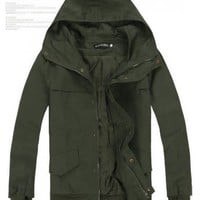 Men Army Green Blends Cotton Zipper Jacket With Cap M/L/XL@X702NH8S0-131ag