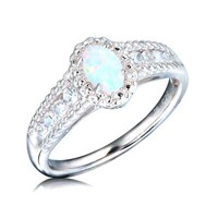 Oval Lab-Created Opal and White Sapphire Ring in Sterling Silver