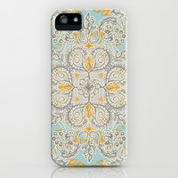 Gypsy Floral in Soft Neutrals, Grey & Yellow on Sage iPhone & iPod Case by Micklyn