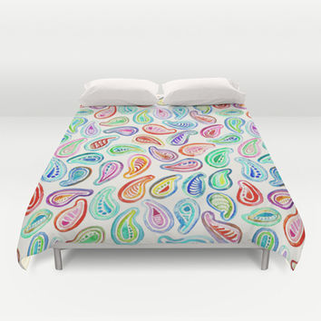 Simple Hand Painted Watercolor Paisley Pattern Duvet Cover by micklyn