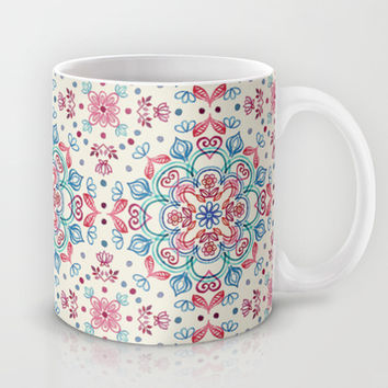 Pastel Blue, Pink & Red Watercolor Floral Pattern on Cream Mug by micklyn