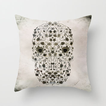 Watercolor Floral Skull Throw Pillow by Nika