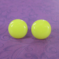 Yellow Earrings, Round Pierced Post Earings, Hypoallergenic Studs, Fused Glass Jewelry  - Sunny - 2122 -3