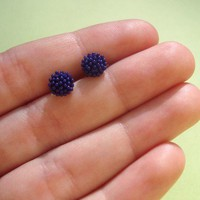 teeny tiny purple earring studs  vintage by letterhappy on Etsy