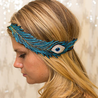 Turquoise Peacock Feather Embroidered Elastic Headband