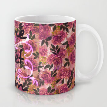 HOME SWEET DORM Colorful Floral Fine Art Trendy Typography Quote Feminine Pink Hipster Girly Cool Mug by EbiEmporium