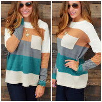 Stripe A Pose Teal Pocket Sweater