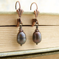 Brown Pearl Earrings with Copper - Copper Pearl Earrings