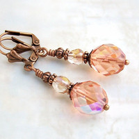 Peach Earrings with Czech glass beads and copper - Victorian Style Earrings