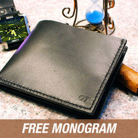 Personalized Men's Leather Wallet- Monogram Leather Wallet- Handmade Wallet