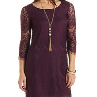 Scalloped Lace Shift Dress by Charlotte Russe - Purple