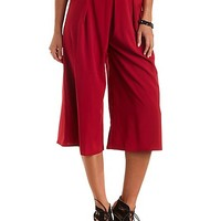Pleated High-Waisted Culottes by Charlotte Russe - Burgundy