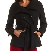 Belted Convertible Collar Pea Coat by Charlotte Russe - Black
