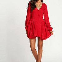 Red Pleated Woven Wrap Dress